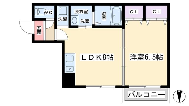 物件番号: 1068124717 ベルフィード新大阪Ⅱ  大阪市淀川区西宮原2丁目 1LDK マンション 間取り図