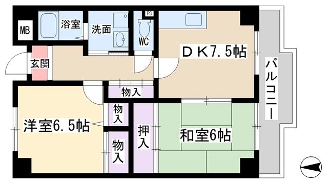 物件番号: 1068124949 加島フラット  大阪市淀川区加島4丁目 2DK マンション 間取り図