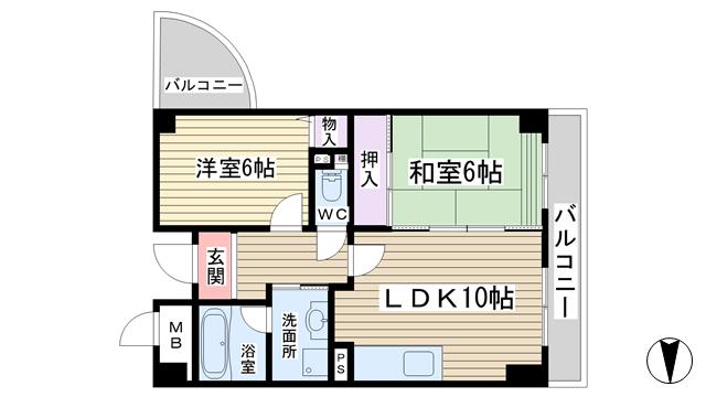 物件番号: 1068125022 パレエレガンテ  大阪市東淀川区小松3丁目 2LDK マンション 間取り図