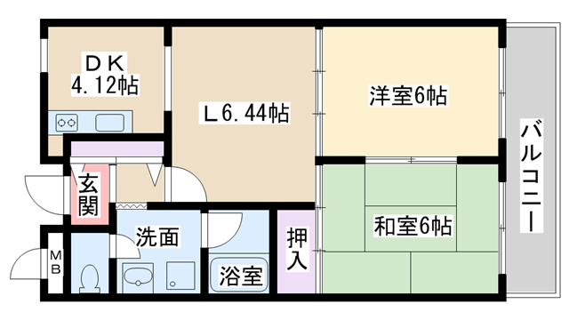 物件番号: 1068125131 第3中尾ハイツ  大阪市淀川区十八条2丁目 2LDK マンション 間取り図