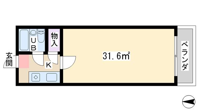 物件番号: 1068125595 チサンマンション第7新大阪  大阪市淀川区西中島6丁目 1R マンション 間取り図