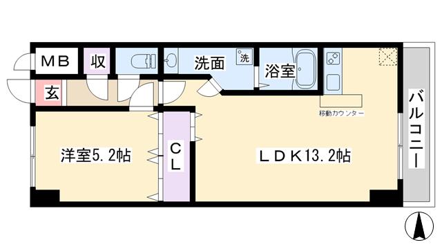 物件番号: 1068126099 メゾンカジサン  大阪市淀川区西中島2丁目 1LDK マンション 間取り図