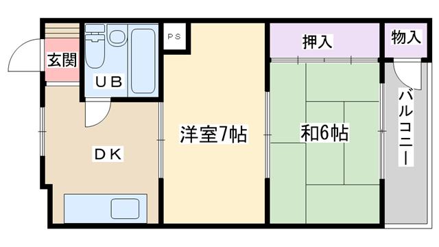 物件番号: 1068129115 サンマンション  大阪市淀川区西三国1丁目 2DK マンション 間取り図