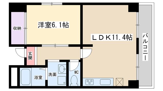 物件番号: 1068129419 ハイムタイヨーⅡ  大阪市淀川区木川西4丁目 1LDK マンション 間取り図