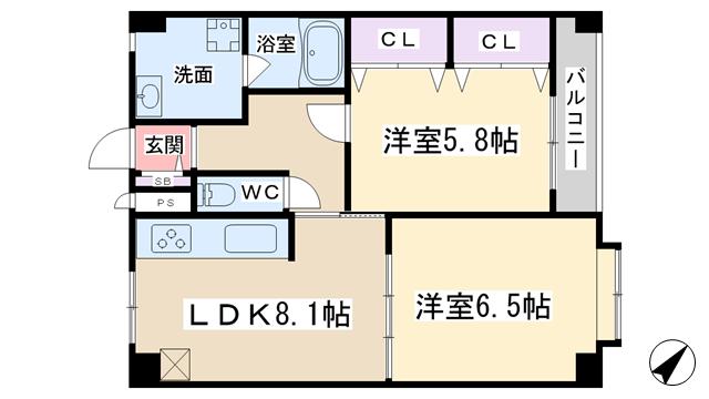 物件番号: 1068129704 ウェルフォレスト  大阪市東淀川区西淡路4丁目 2LDK マンション 間取り図