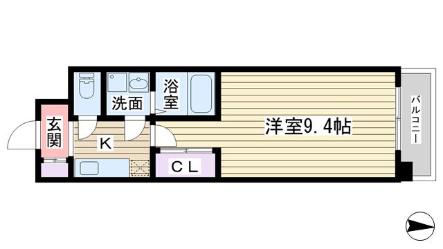 物件番号: 1068130086 FLAT34新大阪南  大阪市淀川区西中島4丁目 1K マンション 間取り図