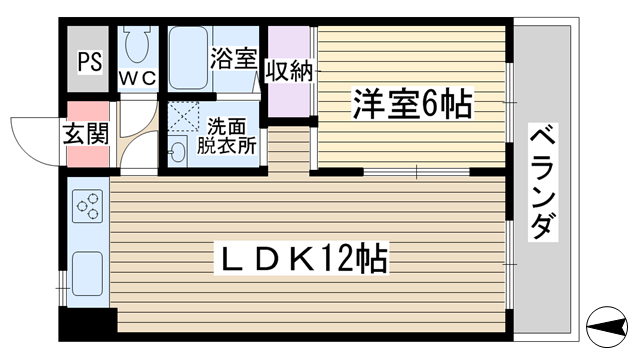 物件番号: 1068130691 マンションROVER  大阪市東淀川区菅原3丁目 1LDK マンション 間取り図