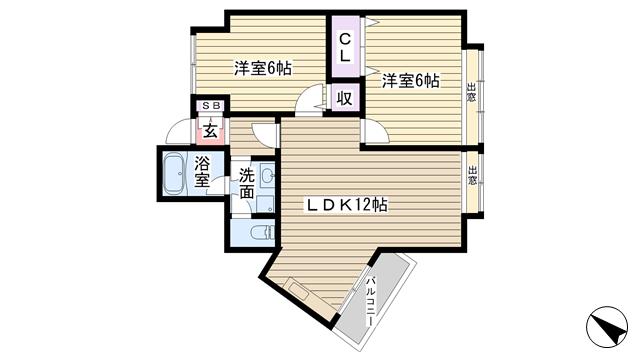 物件番号: 1068132930 メゾン豊新  大阪市東淀川区豊新2丁目 2LDK マンション 間取り図