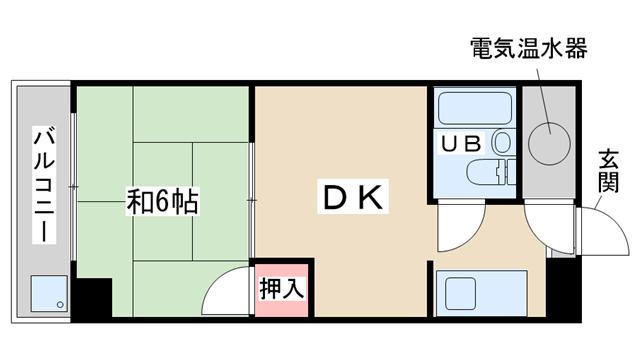 物件番号: 1068133320 ライオンズマンション新大阪  大阪市東淀川区西淡路1丁目 1DK マンション 間取り図