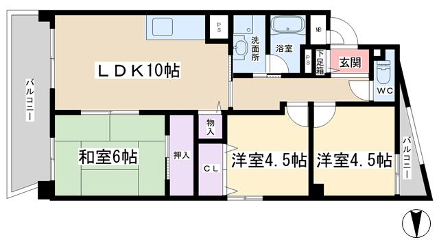 物件番号: 1068133458 エスポワール  大阪市淀川区加島3丁目 3LDK マンション 間取り図