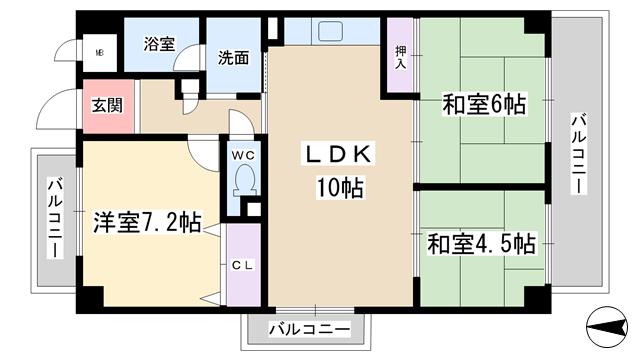 物件番号: 1068133465 ドミールC・S  大阪市淀川区野中北1丁目 3LDK マンション 間取り図
