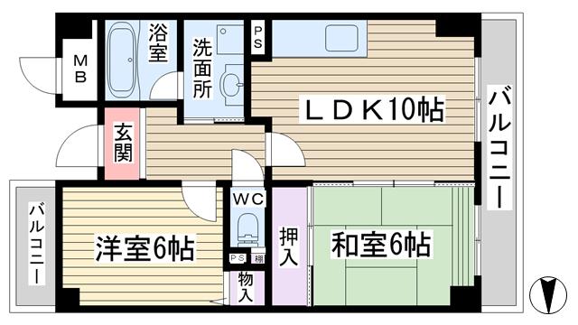 物件番号: 1068133469 パレエレガンテ  大阪市東淀川区小松3丁目 2LDK マンション 間取り図