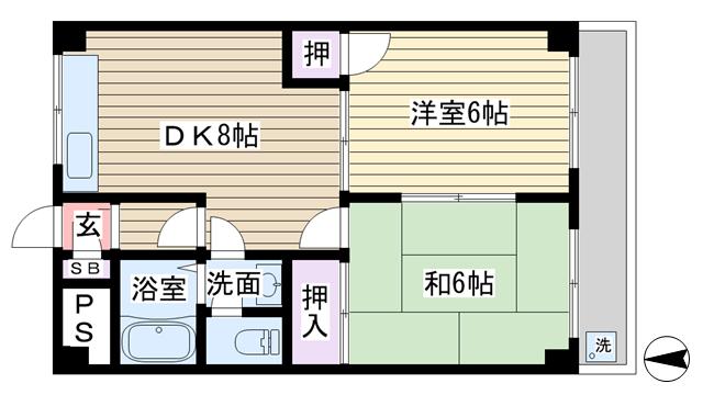 物件番号: 1068133499 桑原ハイツ  大阪市東淀川区下新庄2丁目 2DK マンション 間取り図