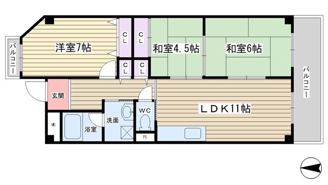 物件番号: 1068133500 エトワール小松  大阪市東淀川区小松5丁目 3LDK マンション 間取り図
