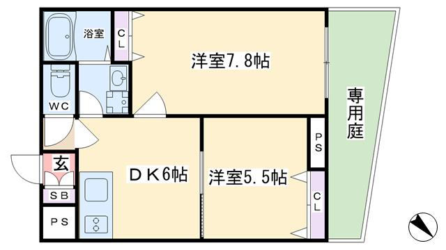 物件番号: 1068133589 ことぶき淡路マンション  大阪市東淀川区淡路1丁目 2DK マンション 間取り図