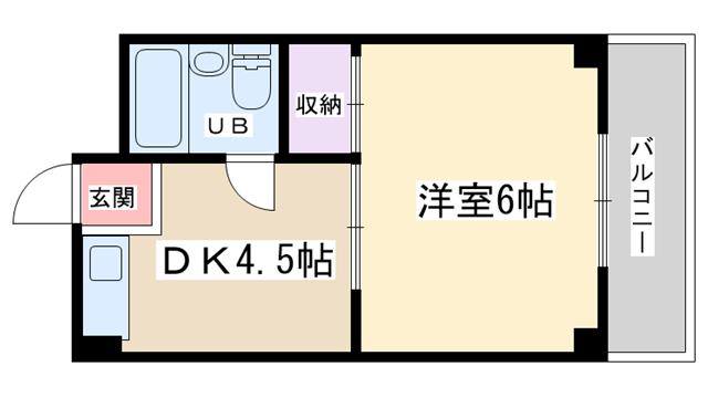 物件番号: 1068133598 CEREZO新大阪  大阪市淀川区西中島6丁目 1DK マンション 間取り図