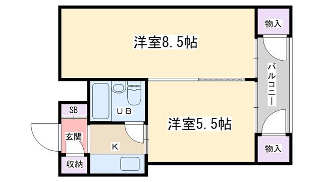 物件番号: 1068133968 百合第2マンション  大阪市淀川区木川東1丁目 2K マンション 間取り図