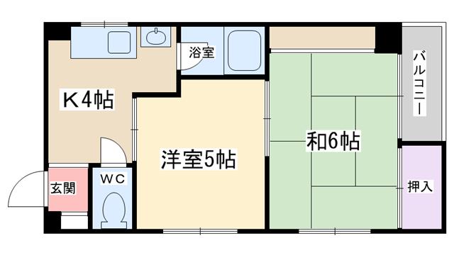 物件番号: 1068134039 リバーサイドマンション  大阪市淀川区十三東1丁目 2K マンション 間取り図
