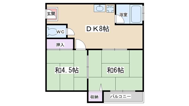 物件番号: 1068134073 富士ハイツ  大阪市淀川区十三東1丁目 2DK マンション 間取り図