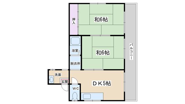 物件番号: 1068134156 林ハイツ  大阪市淀川区十三東3丁目 2DK マンション 間取り図