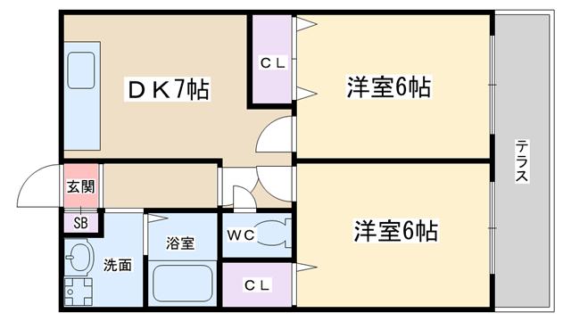 物件番号: 1068134268 ロイヤルハイツ  大阪市淀川区西宮原2丁目 2DK マンション 間取り図