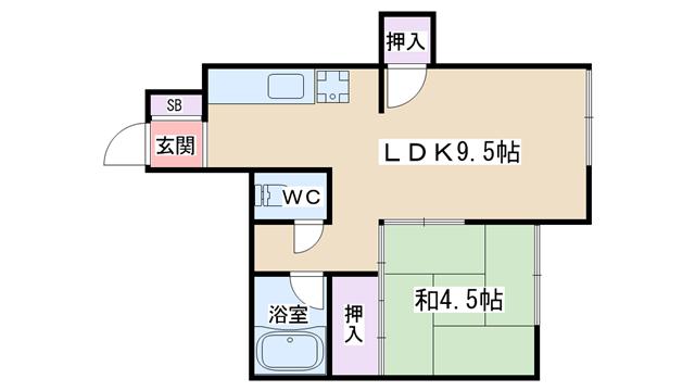 物件番号: 1068134324 Kハイツ  大阪市淀川区野中南1丁目 1LDK マンション 間取り図