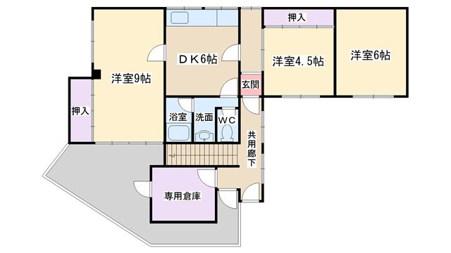 物件番号: 1068134325 Kハイツ  大阪市淀川区野中南1丁目 3DK マンション 間取り図