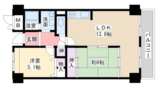 物件番号: 1068134335 パルハセトン十三  大阪市淀川区十三本町3丁目 2LDK マンション 間取り図