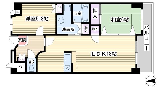 物件番号: 1068134352 和の杜  大阪市淀川区三国本町1丁目 2LDK マンション 間取り図