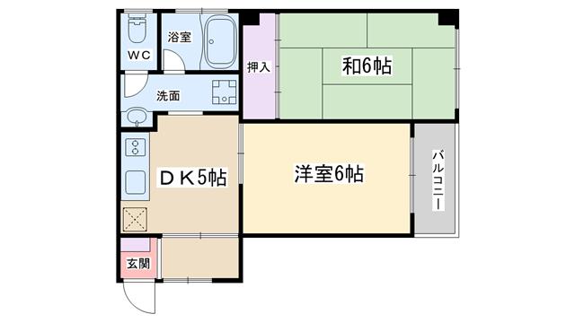 物件番号: 1068134366 ニューカントリーハイムパート1  大阪市淀川区新高1丁目 2DK マンション 間取り図