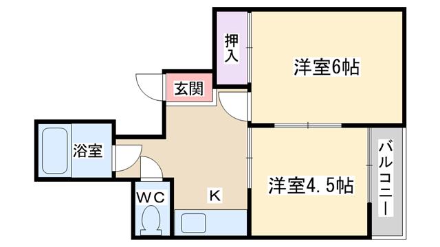 物件番号: 1068134405 メゾン新高  大阪市淀川区新高4丁目 2K マンション 間取り図