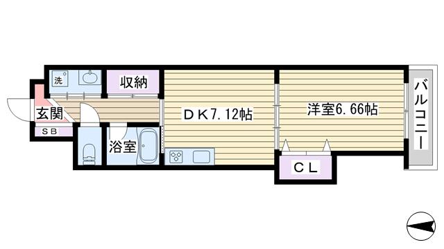 物件番号: 1068134462 和の杜  大阪市淀川区三国本町1丁目 1DK マンション 間取り図