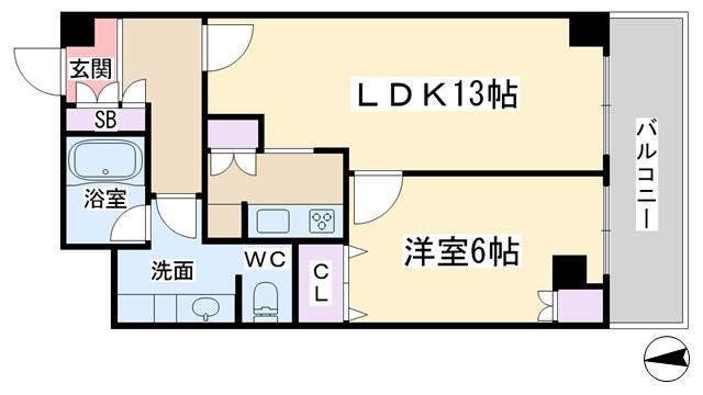 物件番号: 1068134480 フローラルセントランド  大阪市淀川区東三国4丁目 1LDK マンション 間取り図