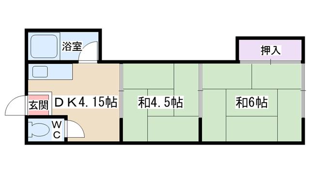物件番号: 1068134517 西三国第4ハイツ  大阪市淀川区西三国1丁目 2DK マンション 間取り図