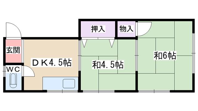 物件番号: 1068134565 マンション吉川  大阪市淀川区西三国3丁目 2DK マンション 間取り図