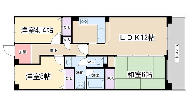 物件番号: 1068134591 ルミエール山本  大阪市淀川区西三国4丁目 3LDK マンション 間取り図