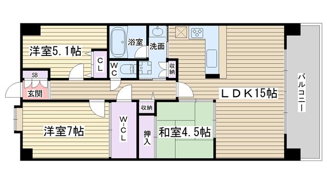 物件番号: 1068134706 アッドパープレイス  大阪市淀川区西宮原2丁目 3LDK マンション 間取り図