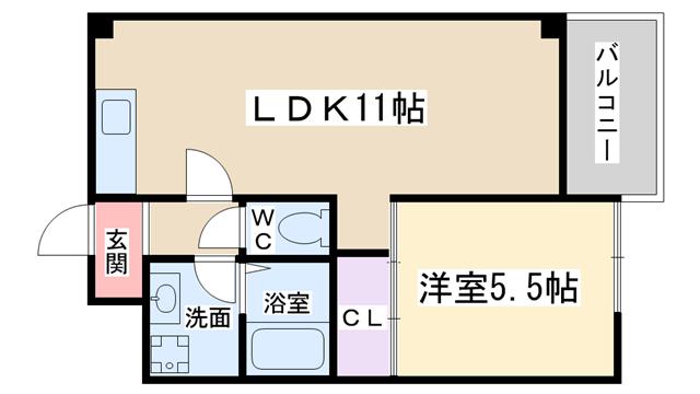 物件番号: 1068134791 レクシア上新庄  大阪市東淀川区豊新5丁目 1LDK マンション 間取り図