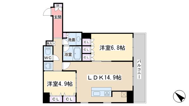 物件番号: 1068134835 リバーサイドタワー中之島  大阪市福島区福島3丁目 2LDK マンション 間取り図