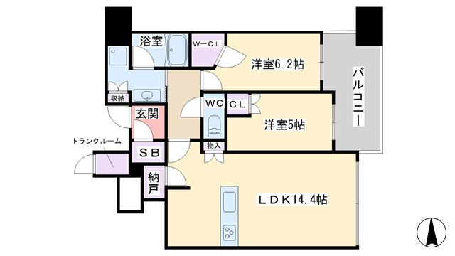 物件番号: 1068134847 シティタワー梅田東  大阪市北区本庄西1丁目 2LDK マンション 間取り図