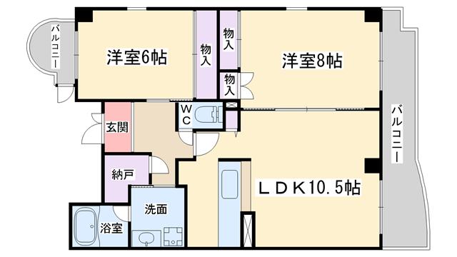 物件番号: 1068134997 グレイスケヤムラ  大阪市西淀川区姫島3丁目 2LDK マンション 間取り図
