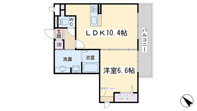 物件番号: 1068135047 グランシャリオⅢ  大阪市東淀川区西淡路4丁目 1LDK マンション 間取り図
