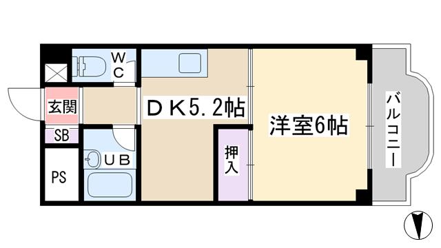 物件番号: 1068135126 エクセルハイツ  大阪市東淀川区淡路1丁目 1DK マンション 間取り図