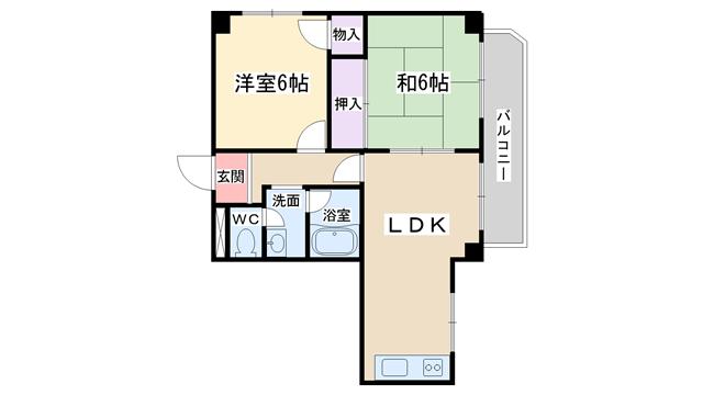 物件番号: 1068135138 ウッディハイツ  大阪市東淀川区淡路1丁目 2LDK マンション 間取り図