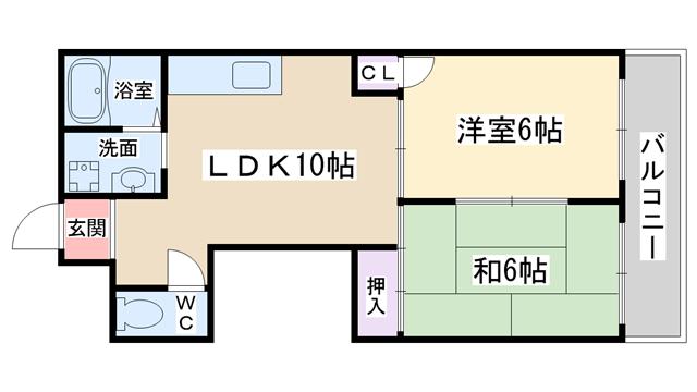 物件番号: 1068135165 ドムール三国  大阪市淀川区十八条3丁目 2LDK マンション 間取り図
