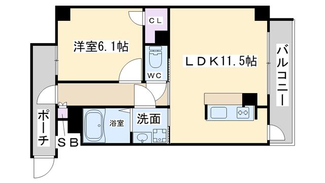 物件番号: 1068135194 S-RESIDENCE新大阪駅前  大阪市東淀川区東中島1丁目 1K マンション 間取り図