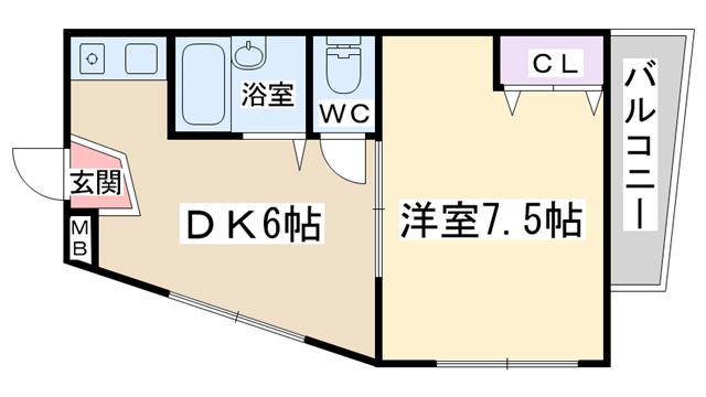 物件番号: 1068135215 レジデンスヘルムⅡ  大阪市東淀川区淡路2丁目 1DK マンション 間取り図