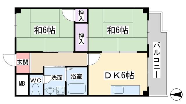 物件番号: 1068135216 メゾンマカカーラ  大阪市東淀川区淡路2丁目 2DK マンション 間取り図