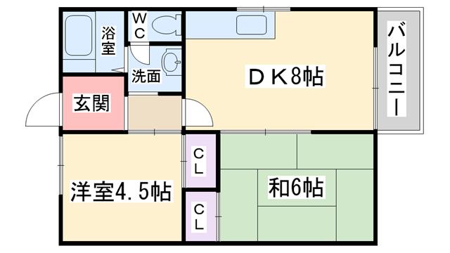 物件番号: 1068135241 ローズハイムⅠ  大阪市東淀川区淡路3丁目 2DK アパート 間取り図
