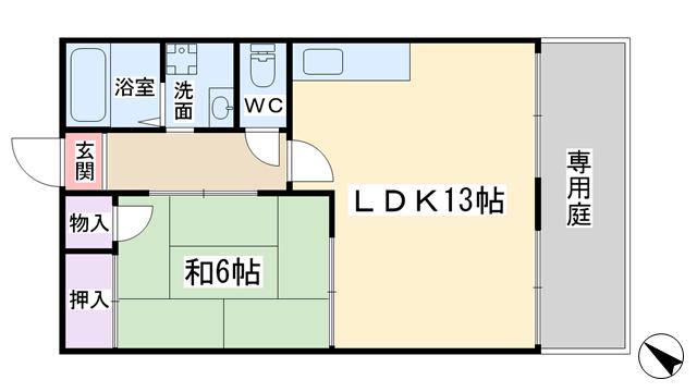 物件番号: 1068135247 ガーデンハイツ淡路  大阪市東淀川区淡路3丁目 1LDK アパート 間取り図